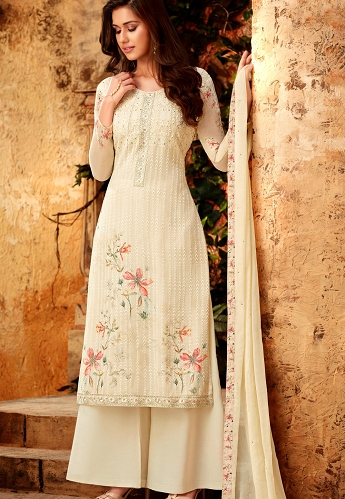 Cream Georgette Printed Resham Embroidered Palazzo Suit - 7178