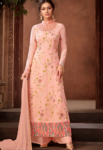 Light Pink Georgette Embroidered Palazzo Suit - 7193