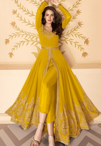 Yellow Georgette Embroidered Front Slit Abaya Suit - 7216D