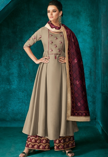 Grey Shade Muslin Long Embroidered Palazzo Style Suit - 727