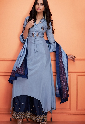 Sky Blue Muslin Embroidered Palazzo Style Suit - 734