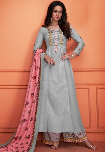 Grey Muslin Embroidered Palazzo Style Suit - 735