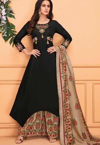 Black Muslin Embroidered Printed Palazzo Suit - 742