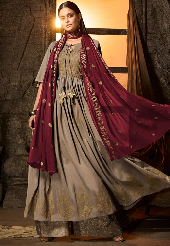 Grey Masleen Embroidered Palazzo Style Suit - 7501