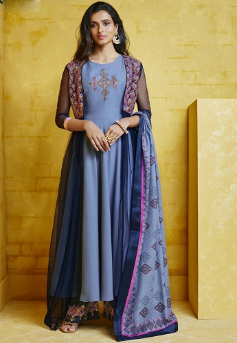 Blue Shade Muslin Long Palazzo Style Suit - 756