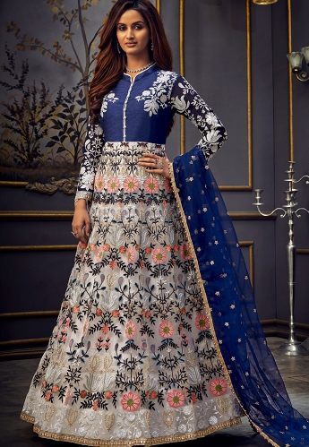White & Blue Net Embroidered Floor Length Anarkali Suit - 7756