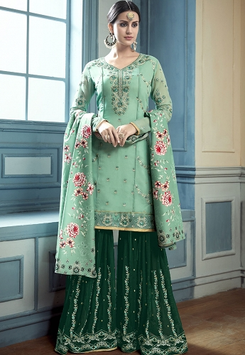 Green Georgette Sharara Style Suit - 8002