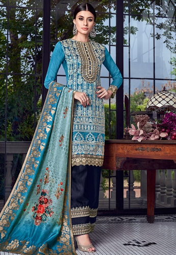 Blue Lakhnavi Silk Embroidered Trouser Style Suit - 8003