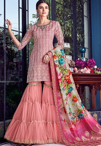 Pink Lakhnavi Silk Embroidered Sharara Style Short Kurti Suit - 8004