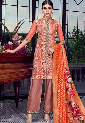 Peach & Orange Lakhnavi Silk Embroidered Trouser Style Suit - 8008