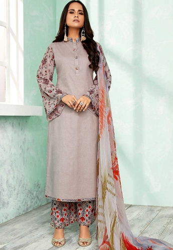 Grey Pure Cotton Palazzo Style Suit - 802B