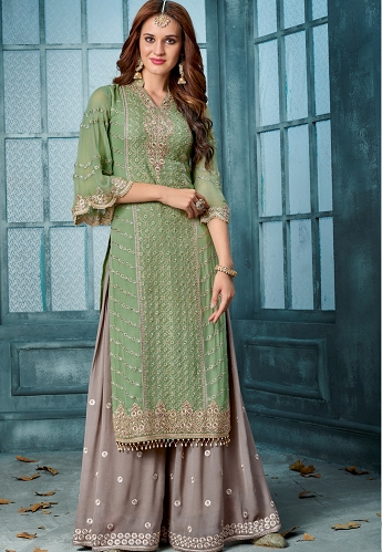 Green & Grey Georgette Embroidered Palazzo Style Suit - 803