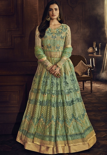 Green Net Embroidered Lehenga Style Anarkali Suit - 8048