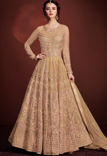 Beige Net Long Embroidered Anarkali Suit - 8145