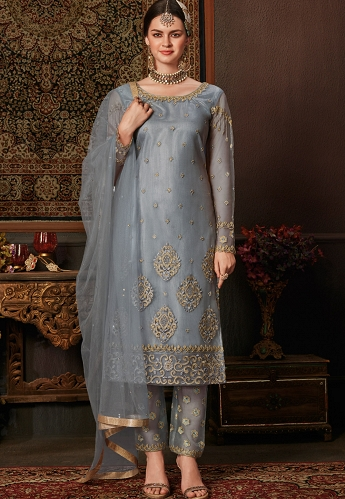 Grey Net Embroidered Straight Pakistani Suit - 8204