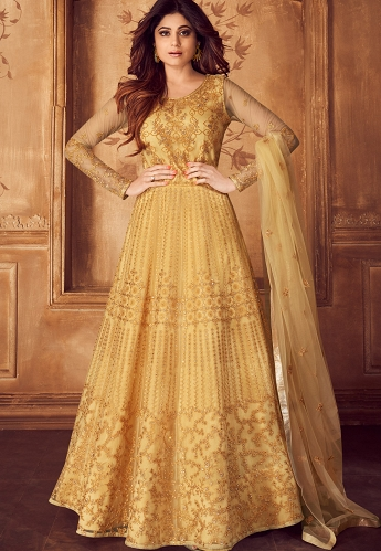 Yellow Net Embroidered Anarkali Suit - 8247