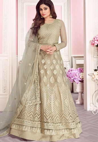 Pastel Green Net Embroidered Embroidered Anarkali Suit - 8263