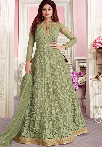 Green Net Embroidered Embroidered Anarkali Suit - 8267