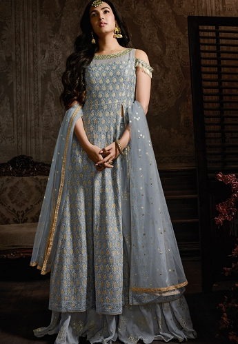 Sonal Chauhan Grey Georgette Embroidered Pakistani Suit - 8601