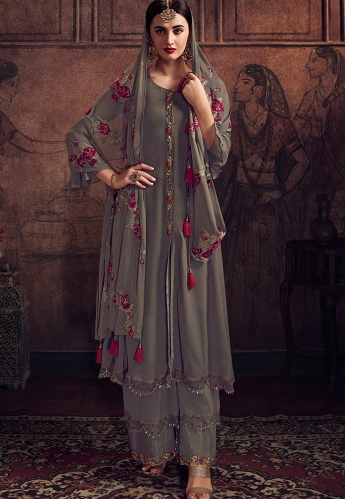 Grey Georgette Embroidered Palazzo Suit - 8905