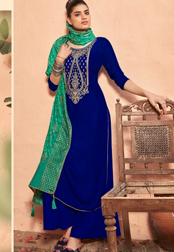 Blue Velvet Embroidered Palazzo Suit - 9002