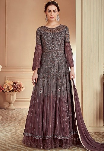 Grey Heavy Shaded Net Embroidered Long Designer Suit - 902