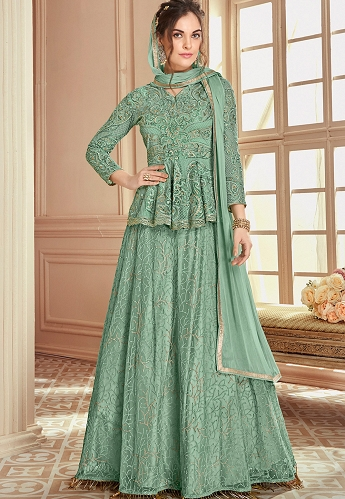 Cyan Heavy Net Embroidered Koti Style Anarkali Suit - 904