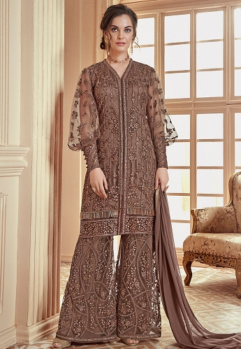 Brown Heavy Net Embroidered Palazzo Style Pakistani Suit - 908