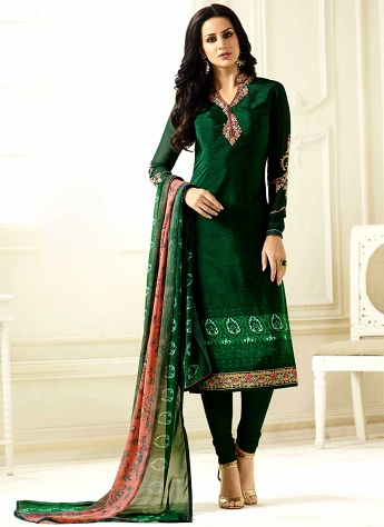 Green Crepe Straight Cut Churidar Suit - 9081