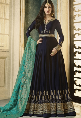 Dark Blue Satin Georgette Embroidered Floor Length Anarkali Suit - 9333