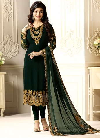 Ayesha Takia Dark Green Georgette Straight Churidar Suit - 9513