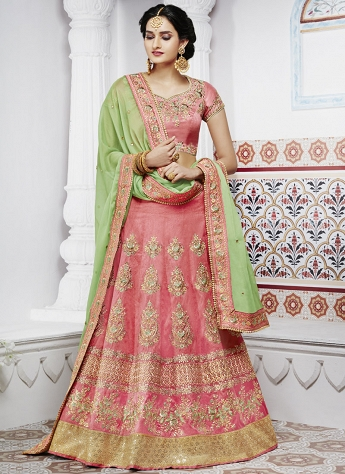 Lovable Pink Handloom Tussar Silk Embroidered A line Lehenga Choli