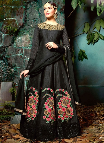 Floral Pure Silk Black Lace Work Floor Length Anarkali Suit