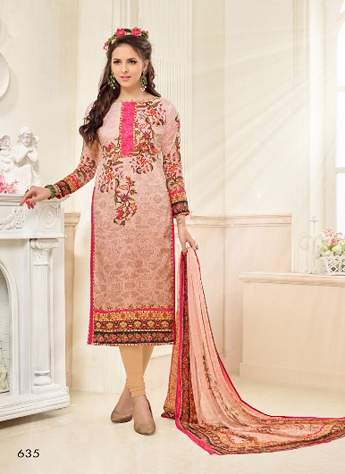 Peach Georgette Embroidered Straight Churidar Suit - 635