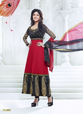 Shilpa Shetty Blue & Maroon Georgette Embroidered Anarkali Suit - 4015