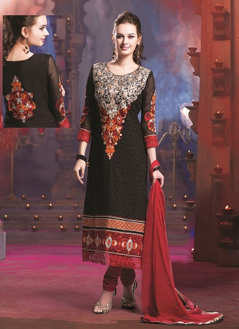 Black Georgette Embroidered Straight Churidar Suit - 7031