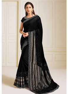 Black Lycra Embroidered Bridal Saree - 11821