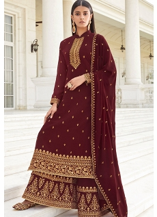 Brown Georgette Embroidered Heavy Palazzo Suit - 8453