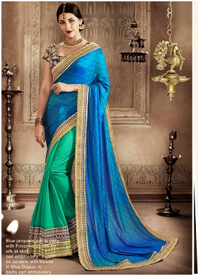 Impeccable Jacquard Silk Patch Border Work Designer Half N Half Saree