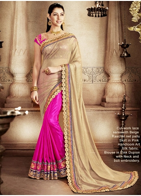 Savory Beige And Hot Pink Designer Half N Half Saree