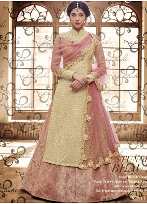 Imperial Pink & Beige Brocade Fancy Fabric Embroidered Lehenga Style Suit
