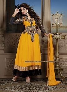 Yellow Georgette Embroidered Long Anarkali Suit - 1021