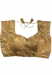 Gold Sequence Readymade Blouse - 6009