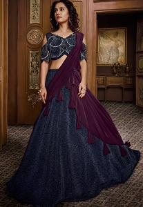 Navy Blue Lycra Flared Lehenga with Cold Shoulder Choli - 066