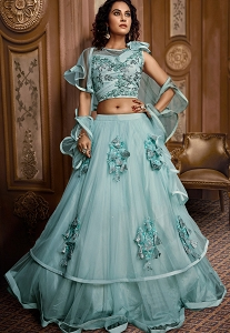 Sky Blue Net Fancy Layered Lehenga Choli with Buttas - 068