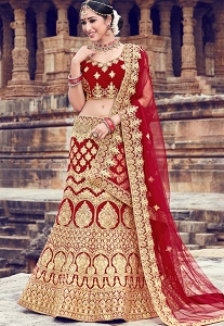 Maroon Velvet Heavy Embroidered Bridal Lehenga - 10001
