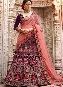 Purple Velvet A-line Embroidered Lehenga Choli - 1005