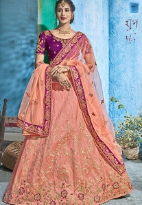 Peach Silk Embroidered A-line Lehenga Choli - 1005