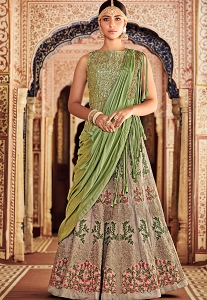 Grey Banarasi Silk Embroidered A line Lehenga Choli-11001