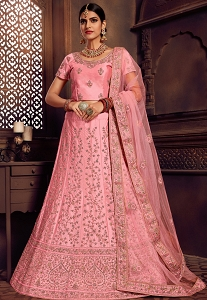 Pink Silk Embroidered Lehenga Choli - 11003